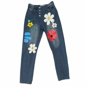 Miss Look High Waist Floral Painted Jeans